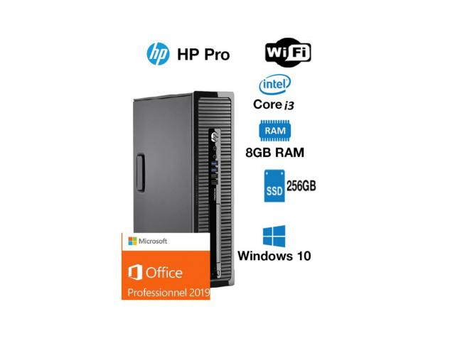 photo de PC hp prodesk 400 G1 core i3 4130 3.4 ghz 256 ssd go 8 gb wifi windows 10 pro office 2019 pro